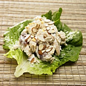 Chicken Salad with Almonds on a Lettuce Leaf
