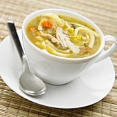 Chicken Noodle Soup in a Cup with Saucer