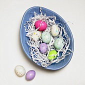 Speckled Candy Eggs on Blue Egg Shaped Dish