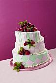 Three Tier Harlequin Style Wedding Cake with Fresh Fruit