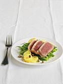 Seared Tuna with Potatoes, Green Beans and Capers