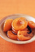 Small Dish of Poached Apricots with Vanilla Bean