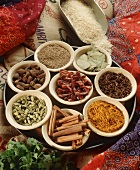 Tray of Assorted Indian Spices in Bowls with a Scoop of Rice