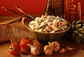 Large Bowl of Rigatoni with Asparagus and Tomatoes in a Cream Sauce with Parmesan