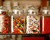 Assorted Candies in Glass Canisters
