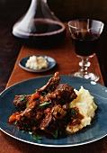 Plate of Short Ribs with Mashed Potatoes; Red Wine