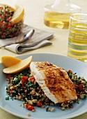 Spiced Halibut Filet Over Tabbouleh; Lemon Wedge Garnish
