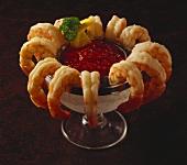 Shrimp Cocktail in Glass with Cocktail Sauce