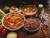 Three Southern Dishes, Creole Chicken, Red Beans and Rice, Gumbo