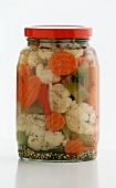 Jar of Pickled Vegetables on a White Background