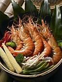 Steamed Shrimp Basket with Vegetables