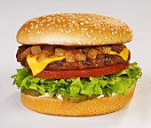 A Cheeseburger with Onions, Lettuce, Tomato and Pickle