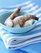 Frozen Shrimp in a Small Blue Bowl