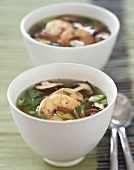 Two Bowls of Asian Shrimp and Lemongrass Soup