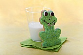 Frog Cookie with a Glass of Milk