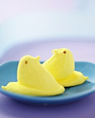 Two Marshmallow Chicks on a Plate