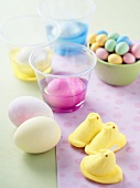 Various Easter Candies and Decorations