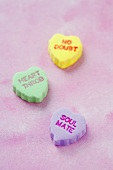 Three Assorted Conversation Heart Candies