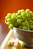 Freshly Washed Green Grapes in a Colander
