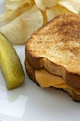 Grilled Cheese Sandwich with a Pickle and Chips