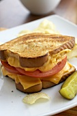 Grilled Cheese and Tomato Sandwich, Pickles and Chips