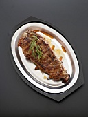Top Sirloin Steak on a Broiler Pan, From Above