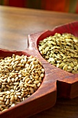 Organic Pumpkin and Sunflower Seeds in a Serving Tray
