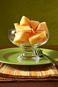 Chopped Cantaloupe in a Glass Bowl