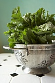 Organic Broccoli Rabe in a Metal Colander