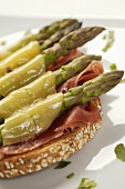 Prosciutto and Asparagus Sandwich Topped with Melted Cheese