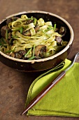 Bowl of Tagliatelle with Chive Oil and Cremini Mushrooms