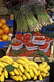 Street Market in Rome, Italy, Bananas, Strawberries, Oranges and Asparagus