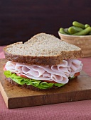 Turkey Sandwich with Lettuce and Tomato on Wheat Bread