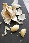 Peeled Garlic Cloves with Garlic Bulb