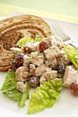 Chicken Salad with Grapes and Walnuts on Lettuce, Rye Bread