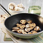 Sauteed Mushrooms in a Frying Pan