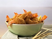 Bowl of Breaded Shrimp with Wooden Toothpicks