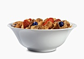 Bowl of Bran Flakes with Strawberries and Blueberries