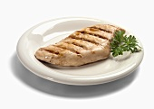 Plain Grilled Chicken Breast on a White Plate
