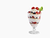 Fruit, Yogurt and Granola Parfait on a White Background