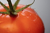 Close Up of a Drop of Water Splashing on a Tomato