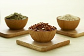 Small Wooden Bowl of Red Himalayan Rice