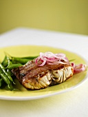 Blue Fish Fillet with Red Onions and Green Beans
