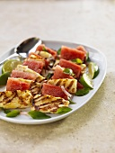 Sliced Grilled Halloumi Cheese with Watermelon and Lime