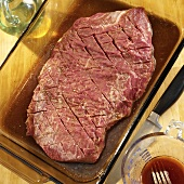 Flank Steak in a Glass Dish with Marinade