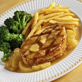 Grilled Boneless Pork Chop with Apple Chutney, Fries and Broccoli