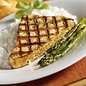 Grilled Swordfish Steak with White Rice and Asparagus