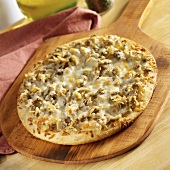 Clam Pizza on a Wooden Pizza Peel