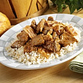 BBQ Beef with Bacon Over White Rice