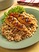 Grilled Chicken Tenders Over Spanish Rice